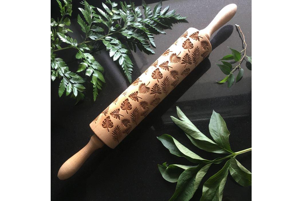 Goody Woody Embosovaný váleček na těsto Tropical Leaves, přírodní barva, dřevo