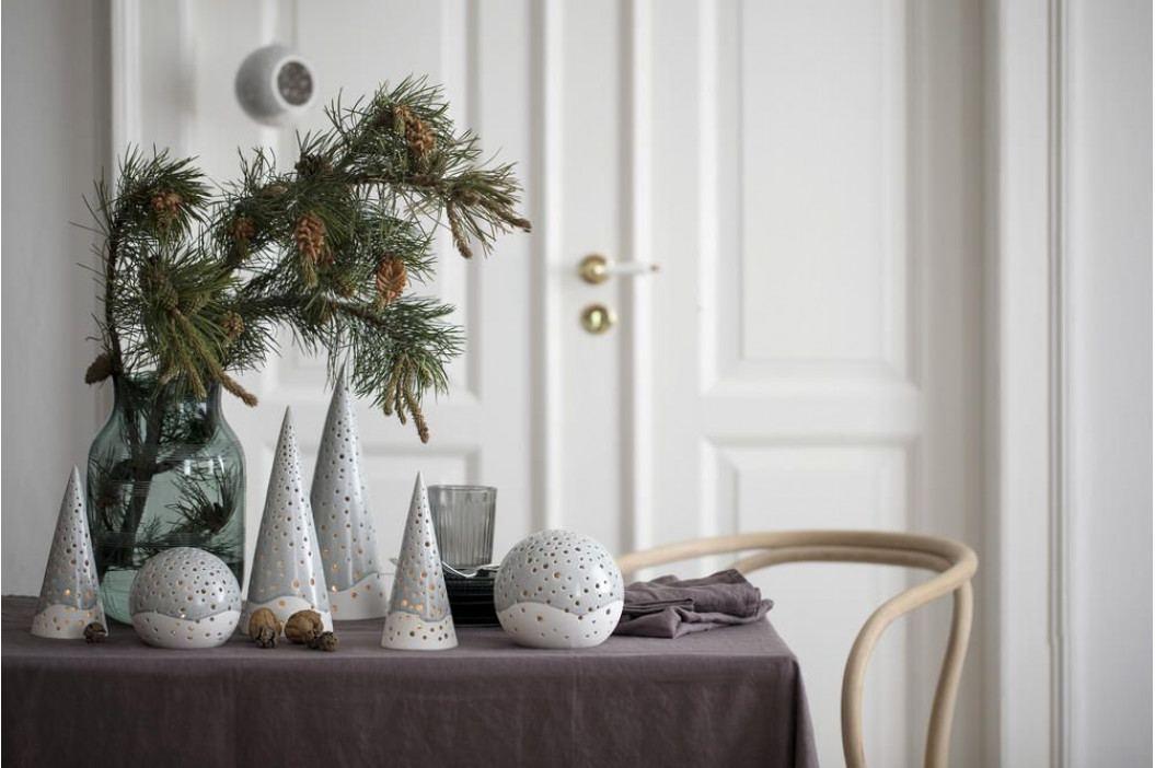 KÄHLER Svícen Nobili grey 25,5 cm, šedá barva, bílá barva, keramika