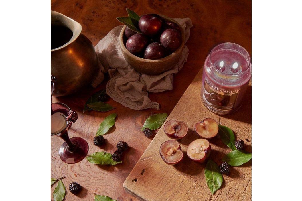 VILLAGE CANDLE Svíčka ve skle Patchouli Plum - malá, fialová barva, sklo, vosk