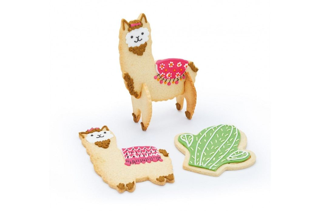 Kitchen Craft Set vykrajovátek Llama Cookie 5 ks, stříbrná barva, kov