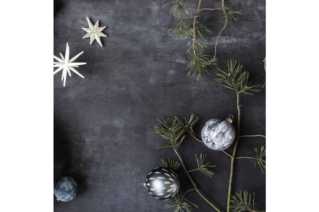 House Doctor Vánoční baňka Artist Grey, modrá barva, šedá barva, sklo