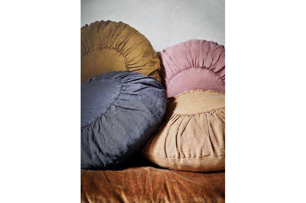 MADAM STOLTZ Lněný polštář s výplní Vintage Rose 40cm, růžová barva, textil