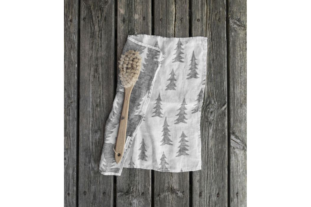 Fine Little Day Lněný ručník Gran Black 43x43 cm, šedá barva, černá barva, textil