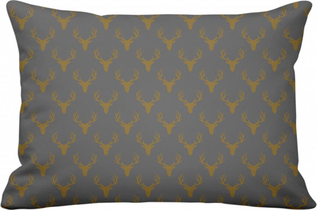 Krasilnikoff Povlak na polštář Gold Antlers 40x60cm, šedá barva, zlatá barva, textil