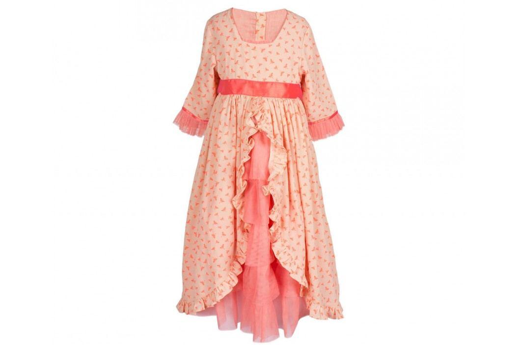 Šaty s volánky pro princeznu, vel. 6-8, oranžová barva, textil
