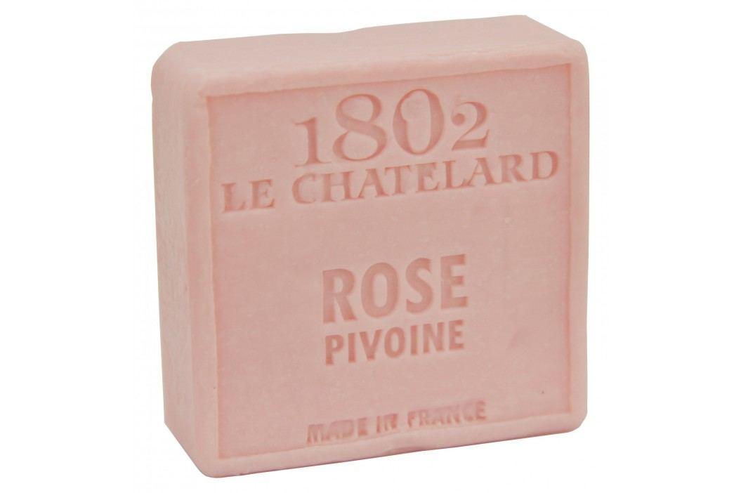 Mýdlo Marseille 100 g čtverec - růže a pivoňka, růžová barva