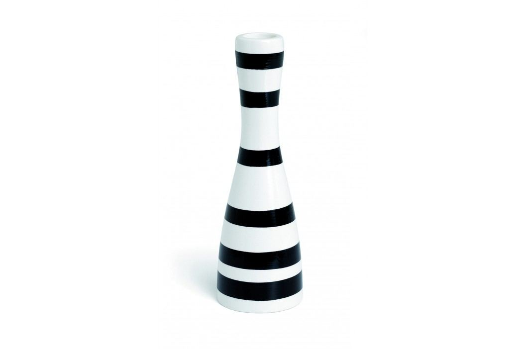 Svícen Omaggio Black 20 cm, černá barva, bílá barva, keramika