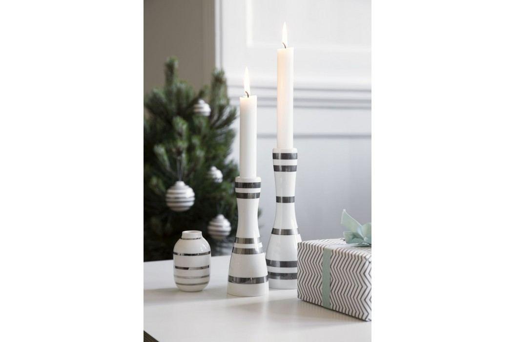 Keramický svícen Omaggio Silver 20 cm, stříbrná barva, krémová barva, keramika