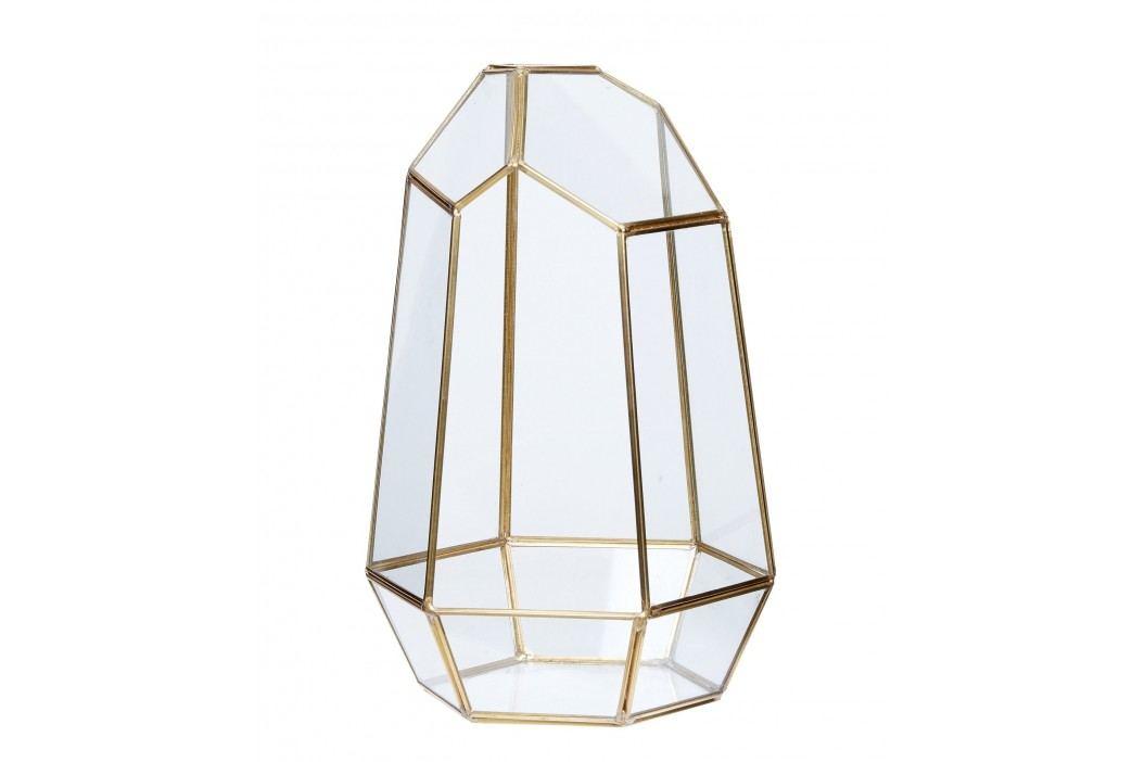 Skleněný box Polyhedron Brass, zlatá barva, sklo, kov