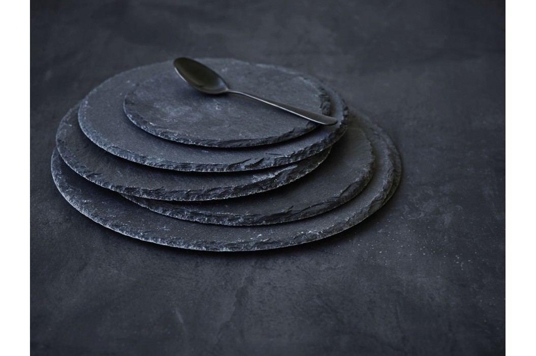 Kulatá břidlicová servírovací podložka Slate 15 cm, černá barva, kámen