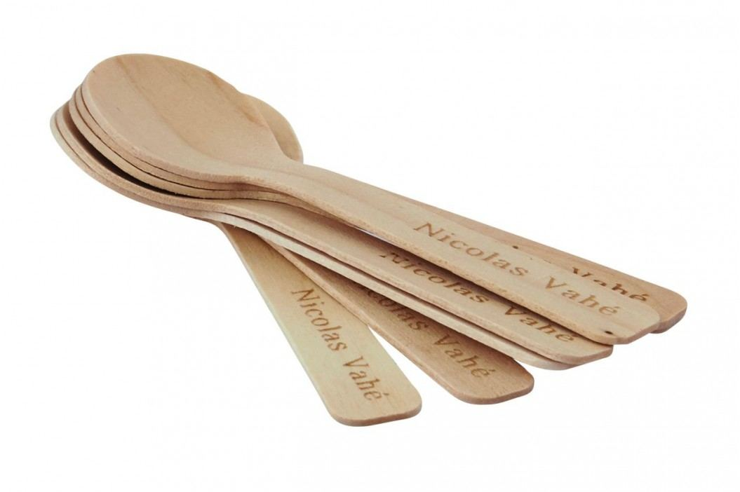 Dřevěné lžičky 48 ks, béžová barva, dřevo