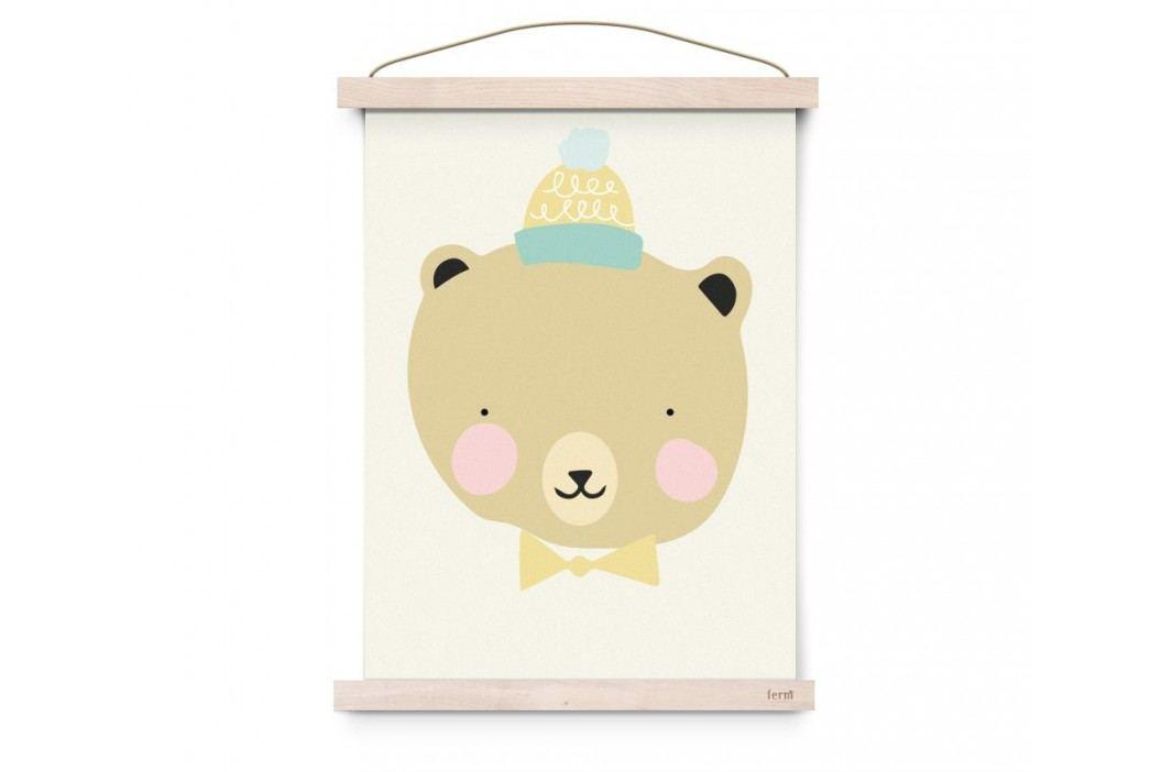 Plakát do dětského pokojíčku Frisky Grizzly A3, žlutá barva, papír
