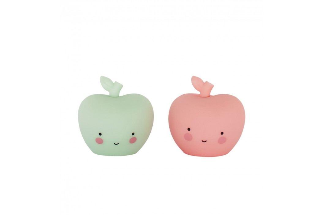 Mini plastová figurka Apple - 2 ks, růžová barva, zelená barva, plast