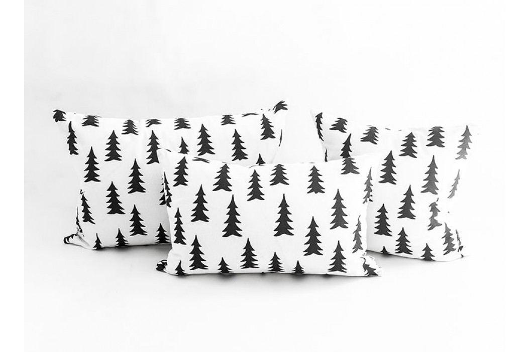 Povlak na polštář Gran Black 40x60 cm, černá barva, bílá barva, textil