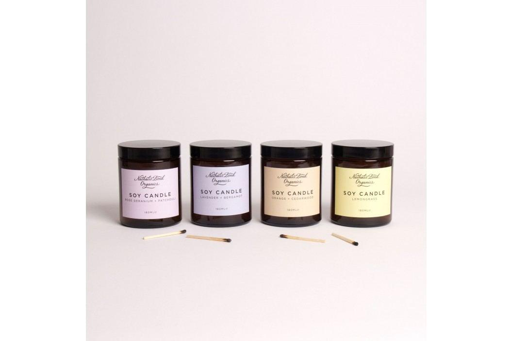 Vonná svíčka Lemongrass, žlutá barva, hnědá barva, sklo, papír