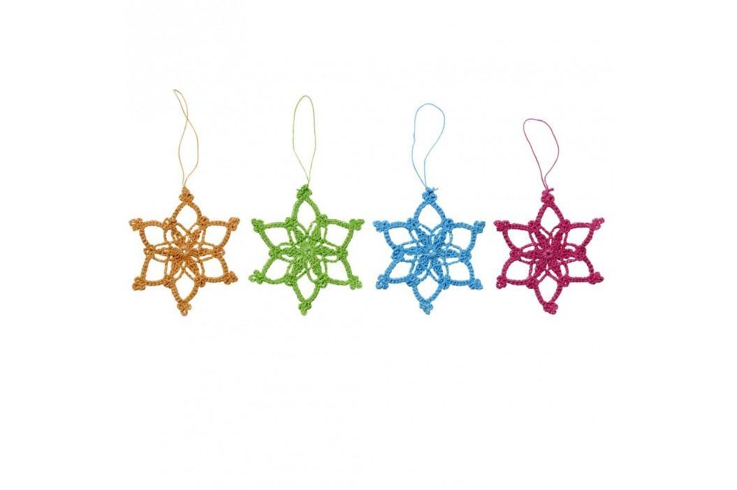 Háčkovaná hvězda Oranžová, růžová barva, modrá barva, zelená barva, oranžová barva, textil