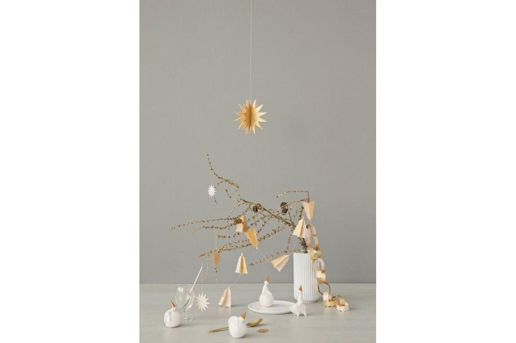 Vánoční girlanda Gold Christmas Trees, zlatá barva, krémová barva, papír