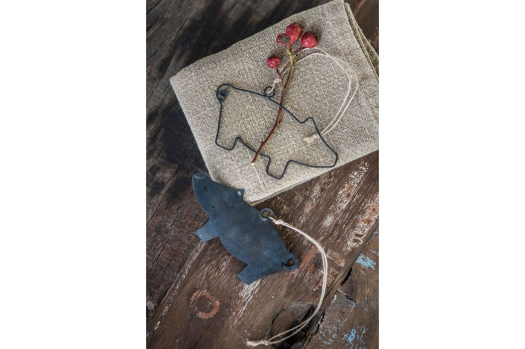 Dekorativní drátěné prasátko, šedá barva, kov