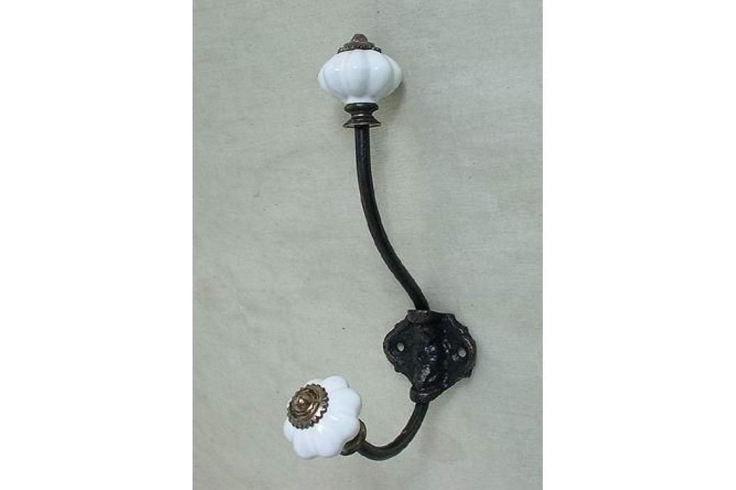 La finesse Kovový věšáček s porcelánovou koncovkou Bílý, černá barva, kov, porcelán