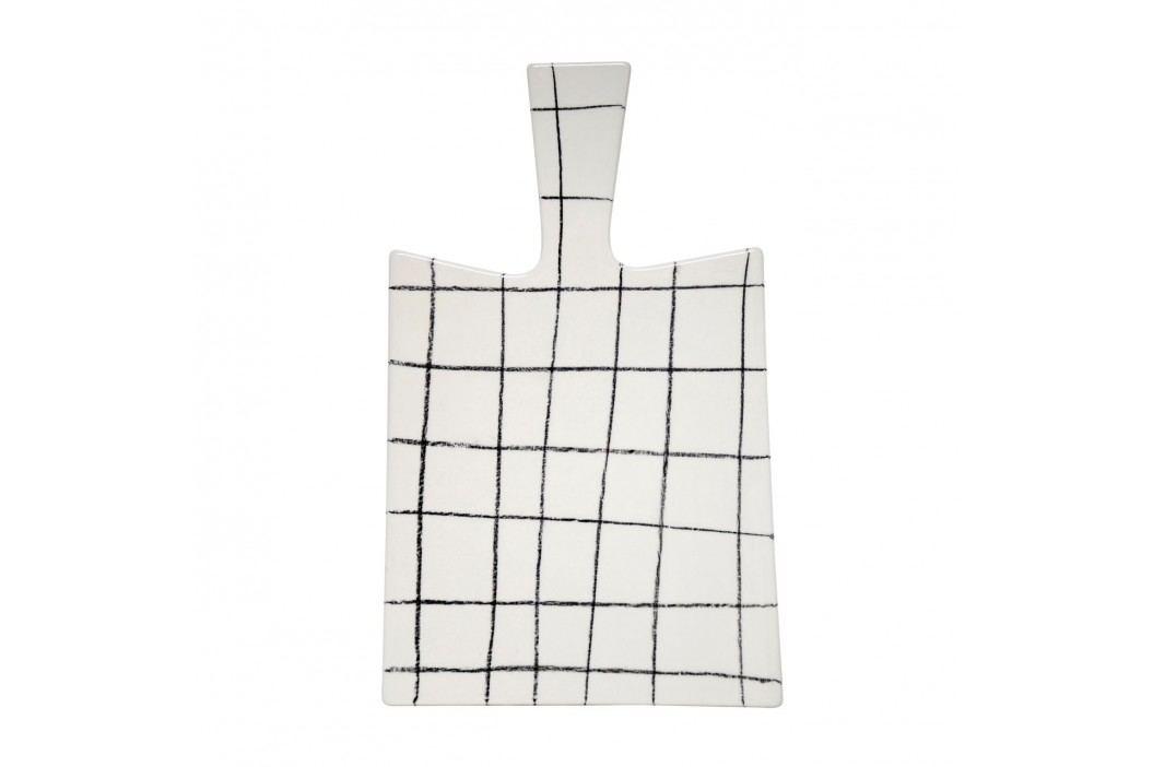 HK living Keramické servírovací prkénko Cube, černá barva, bílá barva, keramika