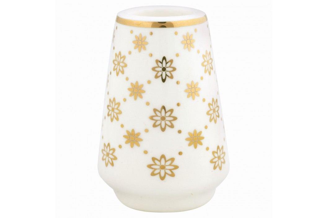 Keramický svícínek Laurie gold, bílá barva, zlatá barva, keramika