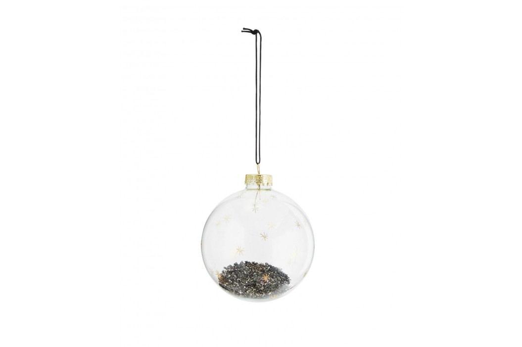 Vánoční baňka Black Glitter, šedá barva, čirá barva, sklo