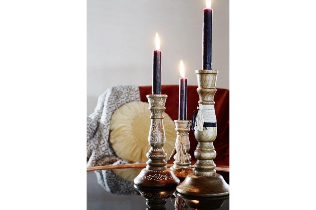 Dřevěný svícen White Black Tassel 25 cm, hnědá barva, dřevo, textil
