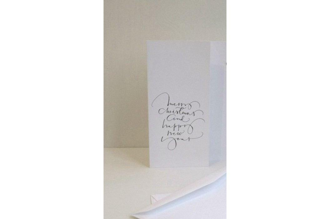 Ylva Skarp Přání s obálkou Merry christmas, černá barva, bílá barva, papír