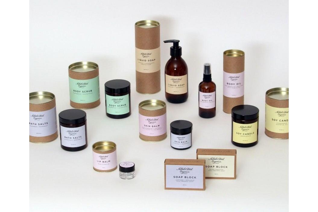 Nathalie Bond Přírodní mýdlo Lavender + Bergamot 90 g, fialová barva, hnědá barva, papír obrázek inspirace