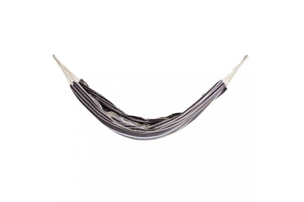 MADAM STOLTZ Plátěná houpací síť Grey/khaki Stripe, šedá barva, textil