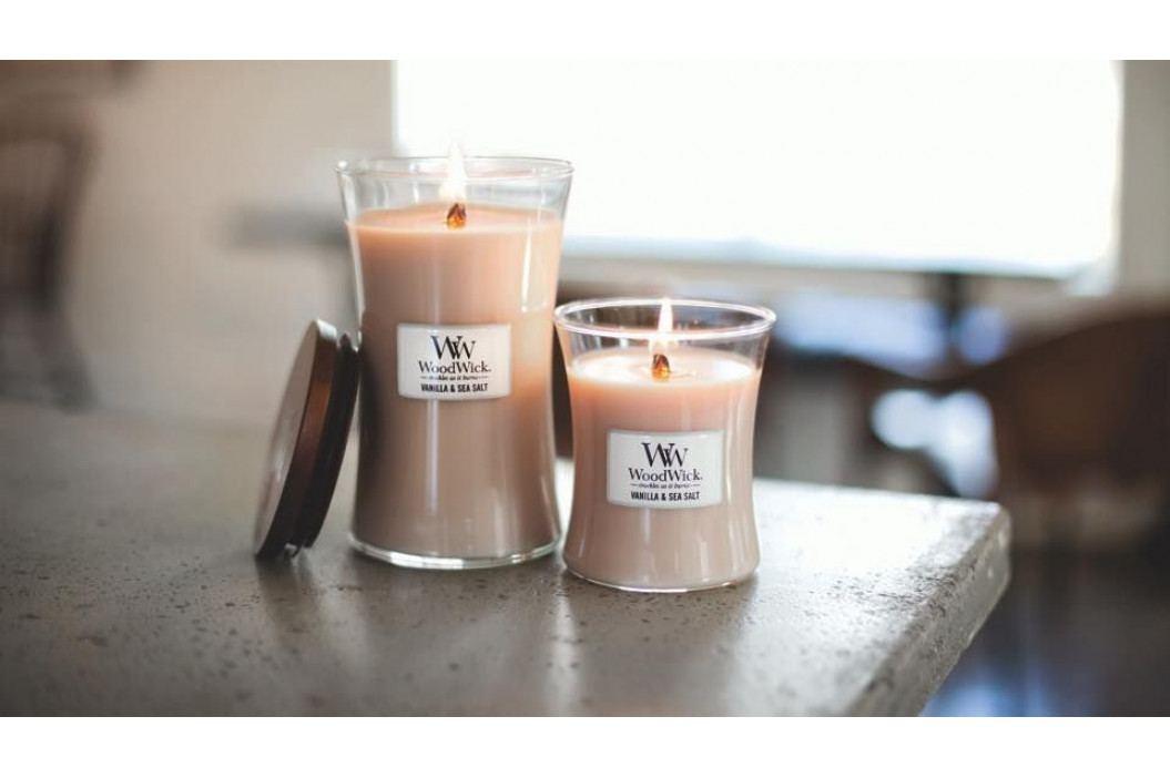 WoodWick Vonná svíčka WoodWick - Vanilka a mořská sůl 85 g, béžová barva, sklo, vosk
