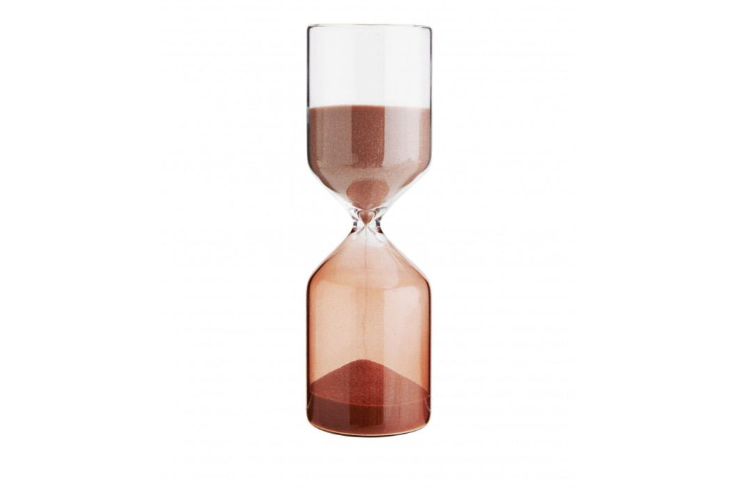 MADAM STOLTZ Přesýpací hodiny Clear Red 30 min, červená barva, čirá barva, sklo