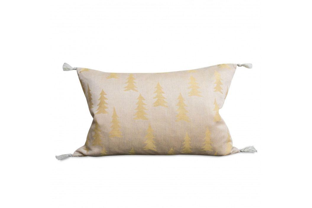 Fine Little Day Lněný povlak na polštář Gran Yellow 40x60cm, žlutá barva, měděná barva, textil