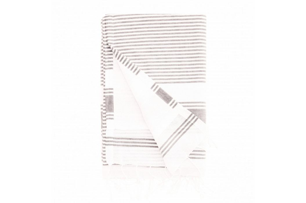 MADAM STOLTZ Hammam osuška Stripe Light Grey 90x180 cm, šedá barva, textil