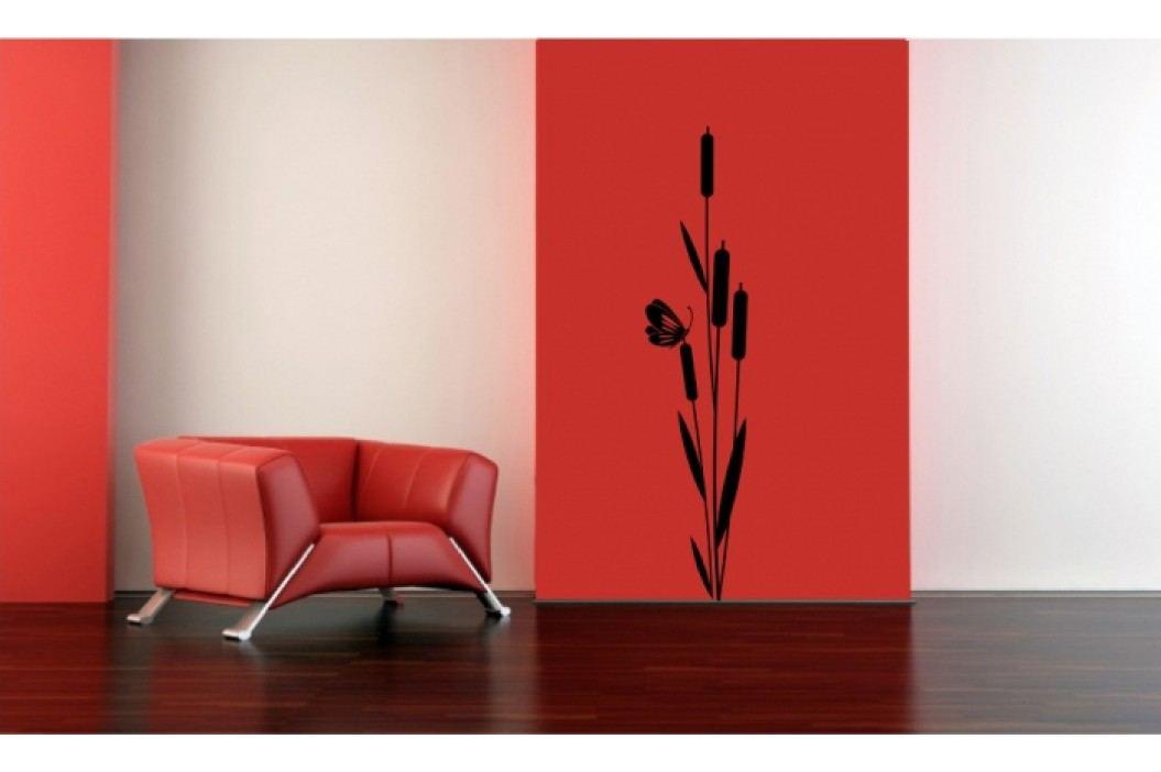 Rákosí s motýlem (60 x 12 cm) -  Samolepka na zeď