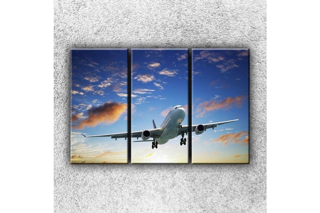 Letadlo v mracích (120 x 80 cm) -  Třídílný obraz