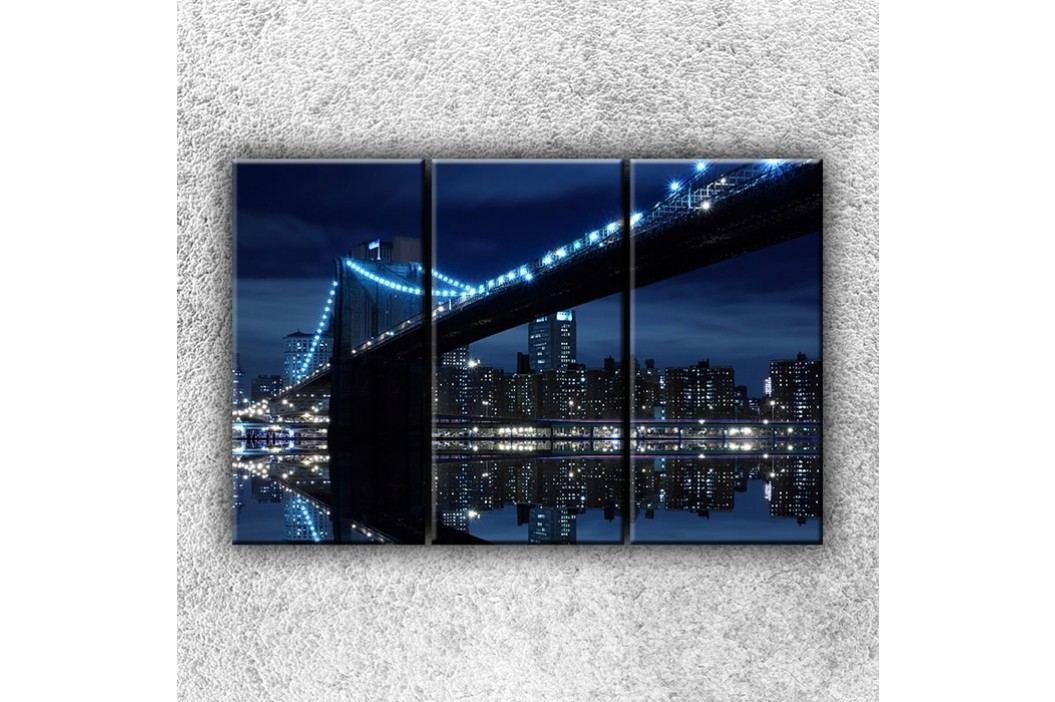 Modré město 3 (120 x 80 cm) -  Třídílný obraz