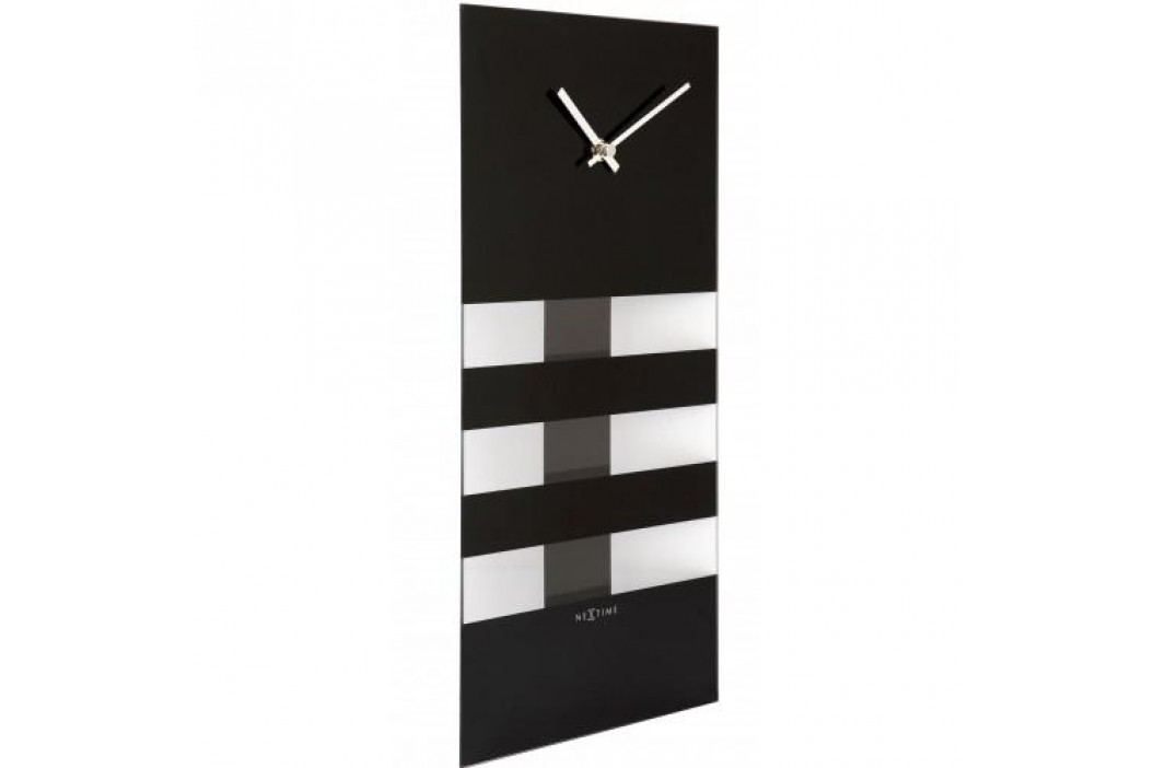 Designové nástěnné kyvadlové hodiny 2855zw Nextime Bold Stripes black 38x19cm