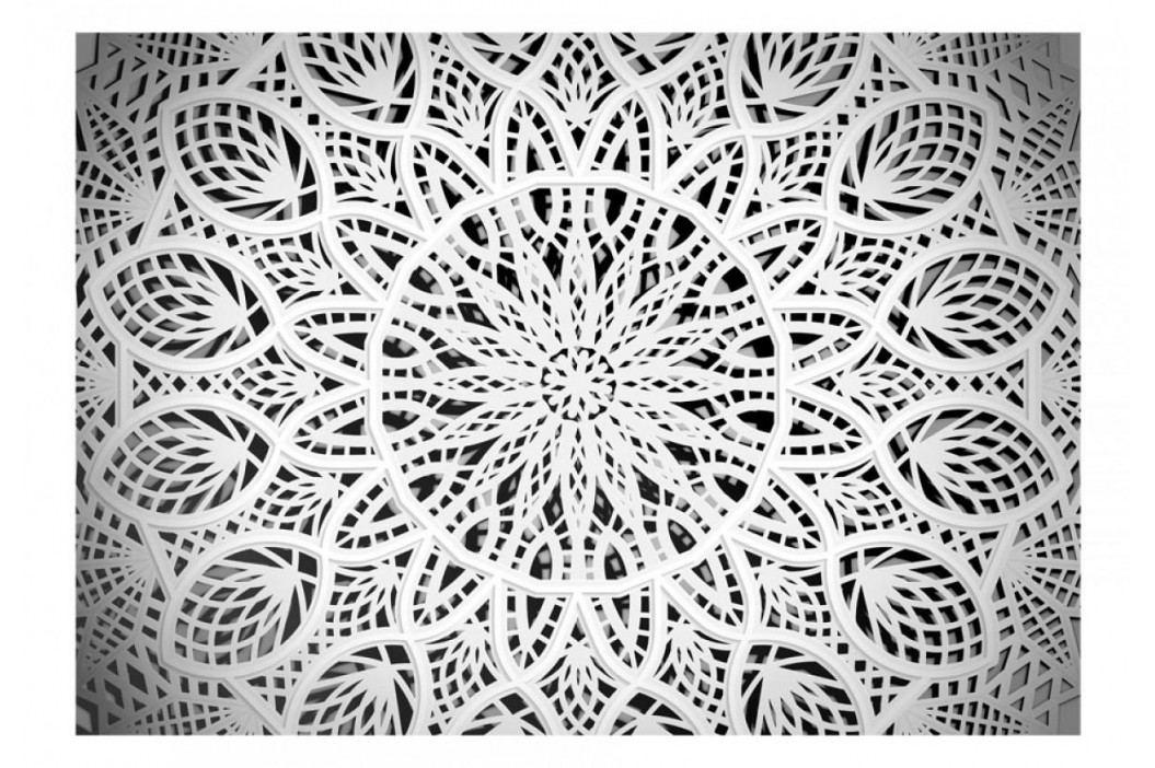 Murando DeLuxe Tapeta bílá mandala 150x105 cm