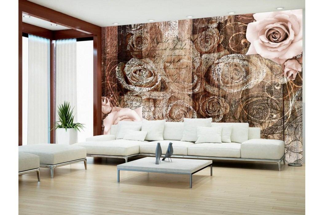 Murando DeLuxe Staré dřevo a růže 150x105 cm