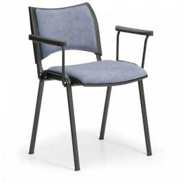 Konferenční židle SMART - černé nohy s područkami šedá