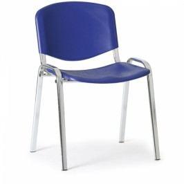 Plastová židle ISO - chromované nohy modrá