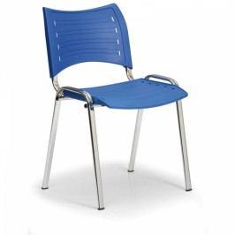 Plastová židle SMART - chromované nohy modrá
