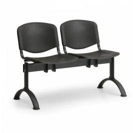 Plastové lavice ISO, 2-sedák, černé nohy modrá