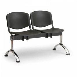 Plastové lavice ISO, 2-sedák, chrom nohy modrá