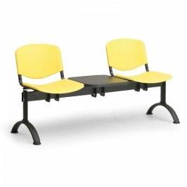 Plastové lavice ISO, 2-sedák + stolek, černé nohy modrá