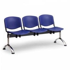 Plastové lavice ISO, 3-sedák, chrom nohy modrá