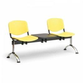 Plastové lavice ISO, 2-sedák + stolek, chrom nohy modrá