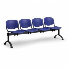 Plastové lavice ISO, 4-sedák, černé nohy modrá