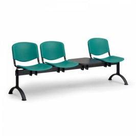 Plastové lavice ISO, 3-sedák + stolek, černé nohy modrá